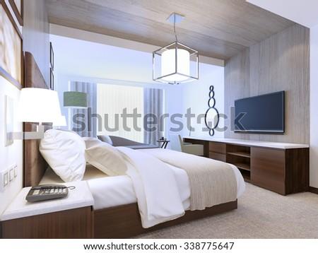 Inspiration for modern hotel room. 3D render - stock photo