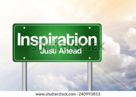 Inspiration Green Road Sign, business concept - stock photo