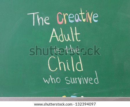 Inspirational artistic phrase written on chalkboard showing creativity - stock photo