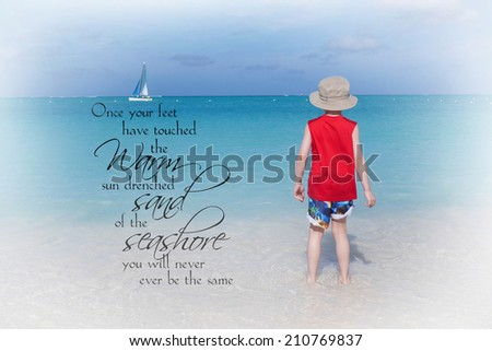 inspirational beach scene with little boy  - stock photo