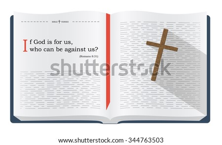Inspirational Bible verses about Christian protection by God - Romans 8:31. Holy scripture motivational sayings for Bible studies and Christian websites, illustration isolated over white background - stock photo
