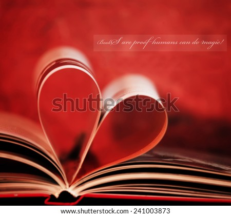 inspirational loving books unknown quote and book in shape of heart  - stock photo