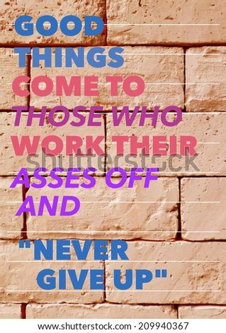 Inspirational motivating quote on old brick block texture background:Never Give Up - stock photo