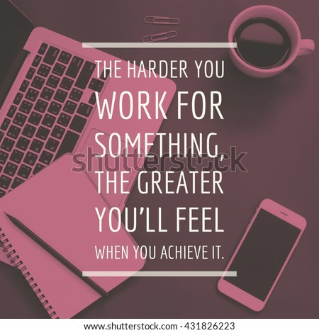Inspirational motivation quote about business on workspace desk background - stock photo