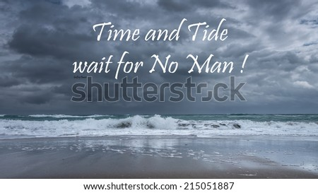 Inspirational quote about life, love, and soul by Geoffrey Chaucer  on a beautiful stormy seascape background - stock photo