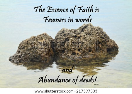 Inspirational quote about life, love, and spirituality by Baha'u'llah  with rocks in the water as background symbolizing strength and faith. - stock photo