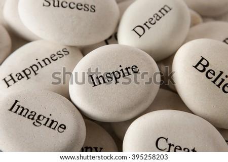 Inspirational stones - Inspire - stock photo