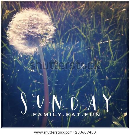 Inspirational Typographic Quote - Sunday - stock photo