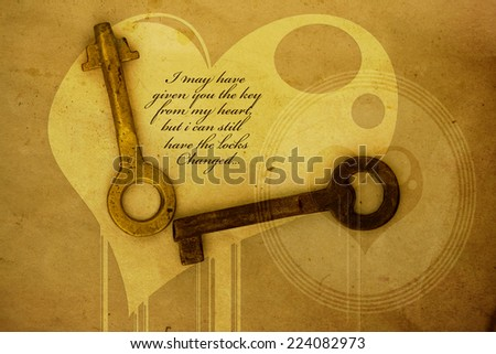 Inspirational unknown love quote on grunge brown background   - stock photo