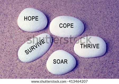 Inspirational words - hope, cope, survive, thrive and soar text on a zen stones vintage background - stock photo