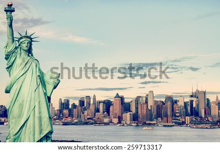 instagram new york city, evening cityscape, tourism concept - stock photo