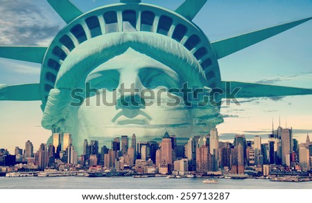 instagram new york city skyline with statue liberty  - stock photo