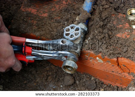Instalation of a water in a house  - stock photo