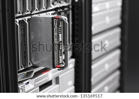 Install or removes a blade server in a data center. - stock photo