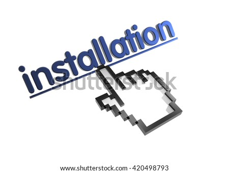 installation. 3d rendered inscription. Link and finger, pointer. Isolated on white - stock photo