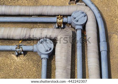 installation duct on floor - stock photo