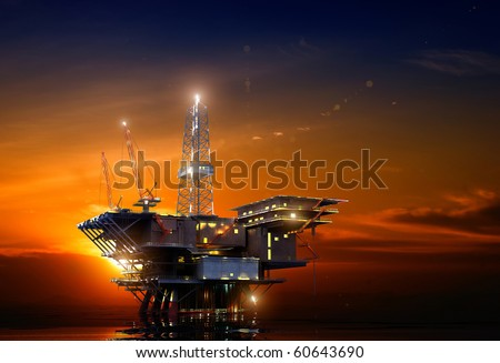 Installation for oil at night - stock photo