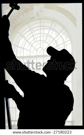 Installation of a window on a background of the window - stock photo