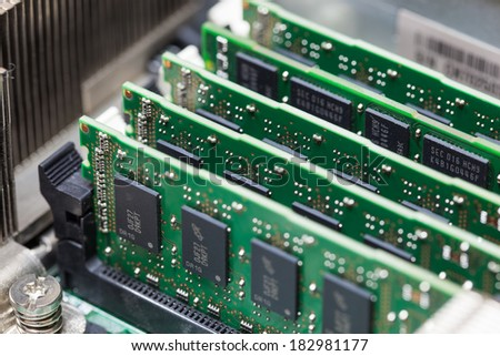 Installation of RAM on Computer. - stock photo
