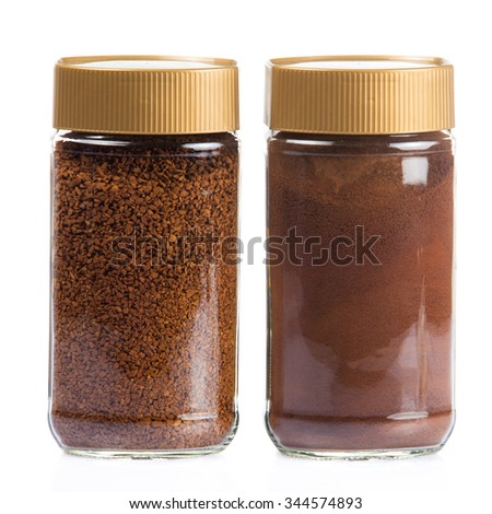 Instant coffee jar isolated on white background.  Instant coffee bottle. Coffee Glass Jar Packaging Package - stock photo