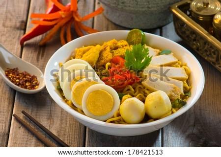instant curry laksa noodle , singaporean style - stock photo