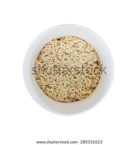 Instant noodle isolated on white - stock photo