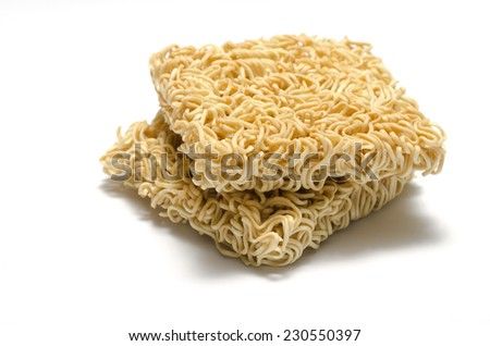 instant noodle on a white background - stock photo
