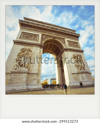 Instant photo of Arch of Triumph in Paris - stock photo