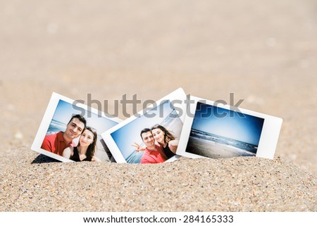 Instant Photo Of Young Boyfriend And Girlfriend Happy Couple On The Beach - stock photo