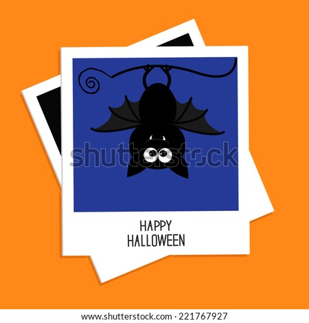 Instant photo with bat on blue background. Happy Halloween card. Flat design.  - stock photo