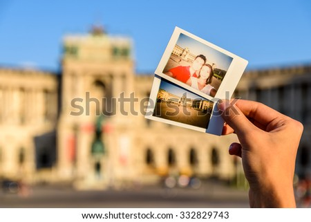 Instant Photos Of Happy Couple At Hofburg Palace In Vienna - stock photo