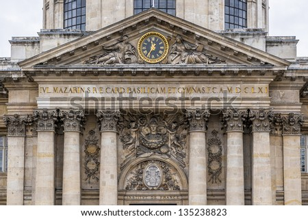 Institute de France in Paris (architect Louis Le Vau, construction was made between 1662 and 1688) - French learned society, grouping five academies, the most famous of which is the Academy francaise. - stock photo