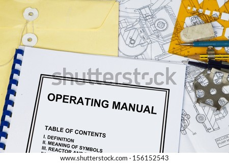 Instruction and Operating manual l of a machinery with engineering tools. - stock photo