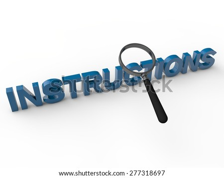 Instructions - 3D Text with magnifier over white background - stock photo