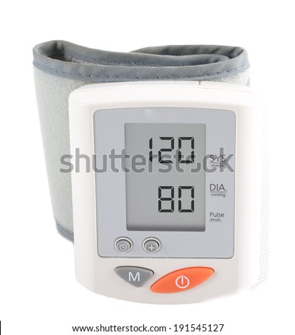 instrument for measuring blood pressure. The display shows the ideal blood pressure 120/80 - stock photo