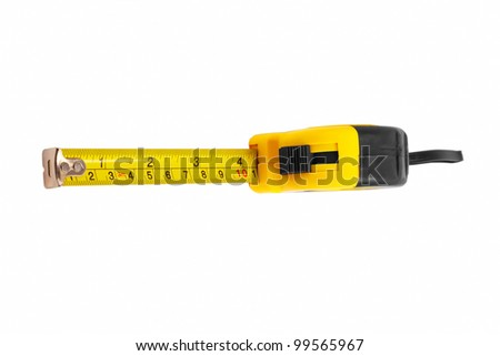 instrument measuring measuring tape on white background (clipping path) - stock photo
