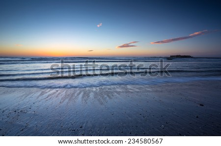 Insua Fort in Caminha at Sunset, North of Portugal - stock photo