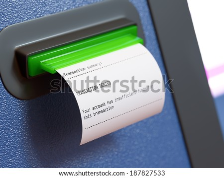 Insufficient funds atm machine receipt - stock photo