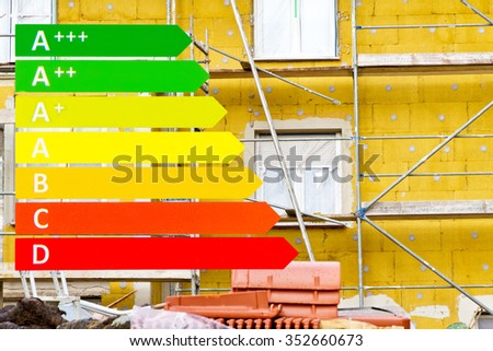 Insulation on a house with energy efficiency  graphic - stock photo