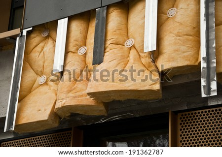 insulation with glass wool - stock photo