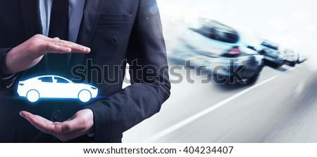 Insurance car - stock photo