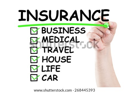 Insurance checklist concept write on transparent wipe board by hand holding a marker - stock photo