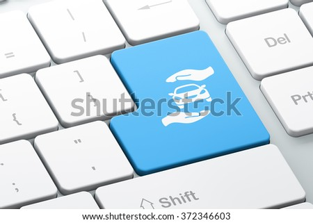 Insurance concept: Car And Palm on computer keyboard background - stock photo