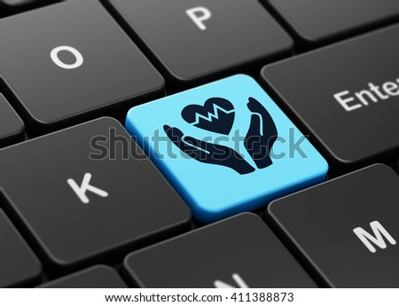 Insurance concept: computer keyboard with Heart And Palm icon on enter button background, 3D rendering - stock photo