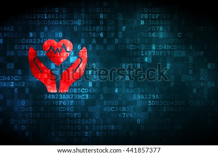 Insurance concept: pixelated Heart And Palm icon on digital background, empty copyspace for card, text, advertising - stock photo