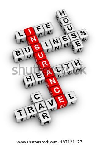 insurance cubes crossword puzzle - stock photo