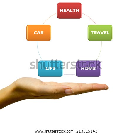 Insurance flow chart on the hand - stock photo