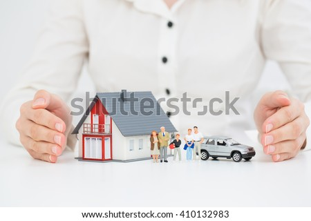 Insurance Home House Live Car Protection Protect Concepts - stock photo