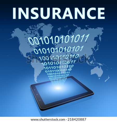 Insurance illustration with tablet computer on blue background - stock photo