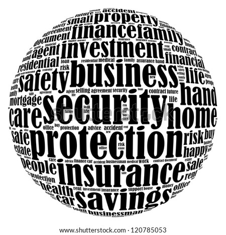 Insurance info-text graphics arrangement on white background - stock photo